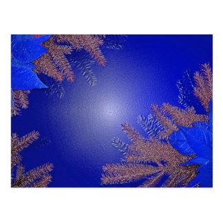 クリスマス|ポインセチア|青い 葉書き
