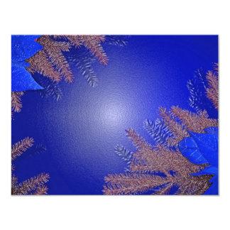クリスマス|ポインセチア|青い 10.8 X 14 インビテーションカード