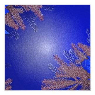 クリスマス|ポインセチア|青い|III 13.3 スクエアインビテーションカード