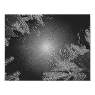 クリスマス|ポインセチア|黒|灰色 10.8 X 14 インビテーションカード