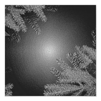 クリスマス|ポインセチア|黒|灰色|III 13.3 スクエアインビテーションカード