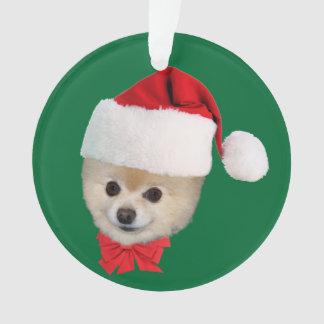 クリスマス、ポメラニア犬犬、サンタの帽子 オーナメント