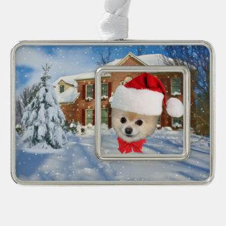 クリスマス、ポメラニア犬犬、サンタの帽子 シルバープレートフレームオーナメント