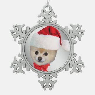 クリスマス、ポメラニア犬犬、サンタの帽子 スノーフレークピューターオーナメント