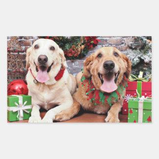 クリスマス-ラブラドールの同盟国-ゴールデン・リトリーバーWrigl 長方形シール