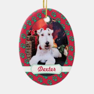 クリスマス-ワイヤーフォックステリア犬-デキスター セラミックオーナメント
