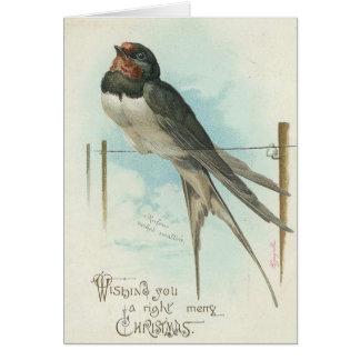 クリスマス-ヴィンテージのイメージのつばめ カード