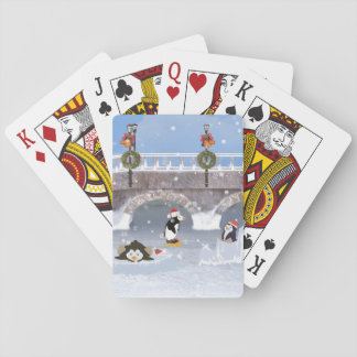 クリスマス、凍結する湖のよくはしゃぐなペンギン トランプ