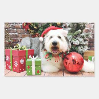 クリスマス-古い英国の牧羊犬- Alphy 長方形シール