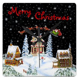 クリスマス、壁、時計、サンタ、クロースのトナカイ、雪だるま スクエア壁時計