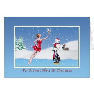 クリスマス、姪、バレリーナ、冬、雪、カード カード