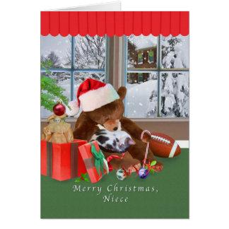 クリスマス、姪、猫、テディー・ベア、カード カード