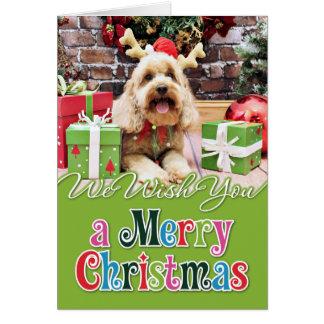 クリスマス-小型GoldenDoodle - Maggie カード
