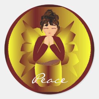 クリスマス|平和|天使|I|ステッカー|-|カスタマイズ可能 丸形シールステッカー