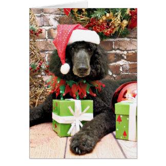クリスマス-標準プードル-ブロンコ カード