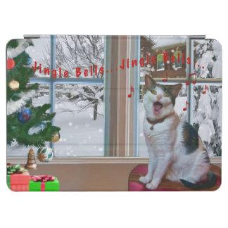 クリスマス、歌う猫、ユーモア、雪場面 iPad AIR カバー