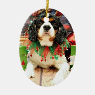 クリスマス-無頓着なチャールズ王スパニエル犬-強盗 セラミックオーナメント