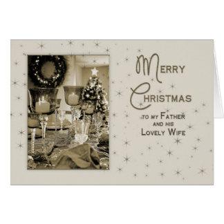 クリスマス-父及び妻ユニークな-美しく カード