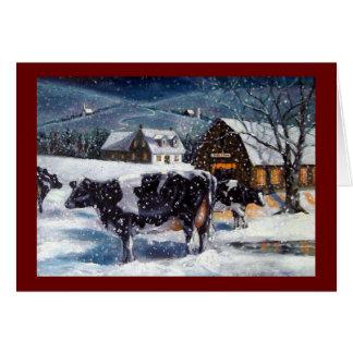 クリスマス: 牛: 雪: 芸術: カード