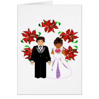 クリスマス 異人種間 結婚 カップル リース ノートカード