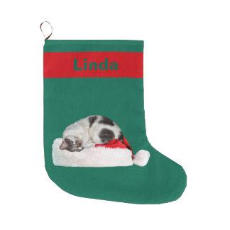 クリスマス、睡眠猫、サンタの帽子、名前 ラージクリスマスストッキング