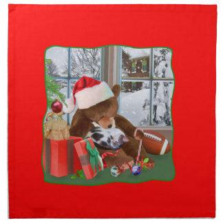 クリスマス、睡眠猫、テディー・ベア ナプキンクロス