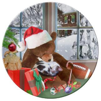 クリスマス、睡眠猫、テディー・ベア 磁器プレート