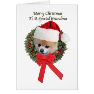 クリスマス、祖母、ポメラニア犬犬 グリーティングカード