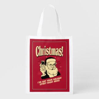 クリスマス: 私はあなたの休日の精神をここに正しく持っています エコバッグ
