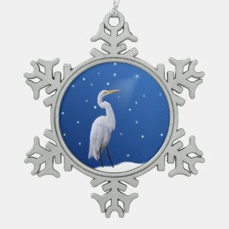 クリスマス、素晴らしい白鷺、星 スノーフレークピューターオーナメント