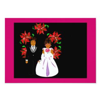 クリスマス|結婚|カップル|リース|ピンク|青い 12.7 X 17.8 インビテーションカード