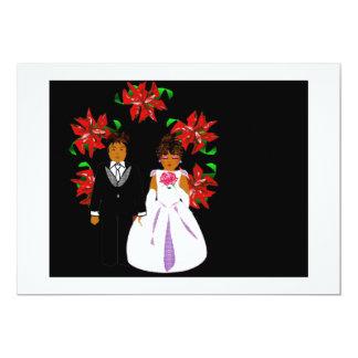 クリスマス|結婚|カップル|リース|白い 12.7 X 17.8 インビテーションカード