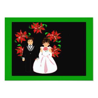 クリスマス|結婚|カップル|リース|緑|ピンク 12.7 X 17.8 インビテーションカード