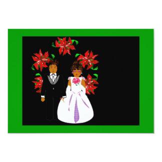 クリスマス 結婚 カップル リース 緑 白い 12.7 X 17.8 インビテーションカード