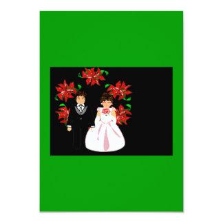 クリスマス|結婚|カップル|リース|緑|紫色 12.7 X 17.8 インビテーションカード