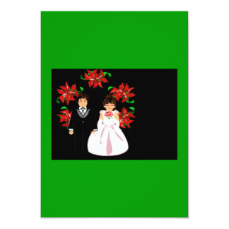 クリスマス|結婚|カップル|リース|緑|赤い 12.7 X 17.8 インビテーションカード