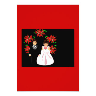 クリスマス|結婚|カップル|リース|赤い|ピンク 12.7 X 17.8 インビテーションカード