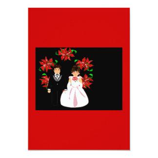 クリスマス|結婚|カップル|リース|赤い|紫色 12.7 X 17.8 インビテーションカード
