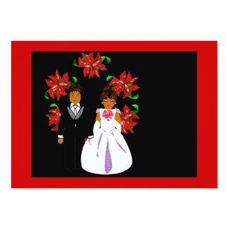 クリスマス|結婚|カップル|リース|赤い|金ゴールド 12.7 X 17.8 インビテーションカード