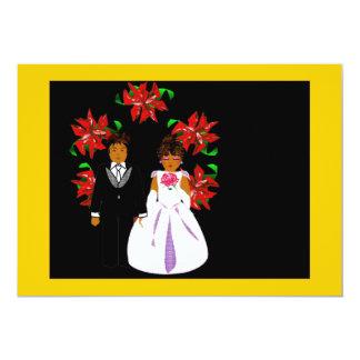 クリスマス 結婚 カップル リース 金ゴールド 緑 12.7 X 17.8 インビテーションカード