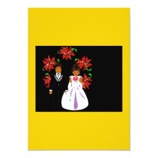 クリスマス|結婚|カップル|リース|金ゴールド|黒 12.7 X 17.8 インビテーションカード