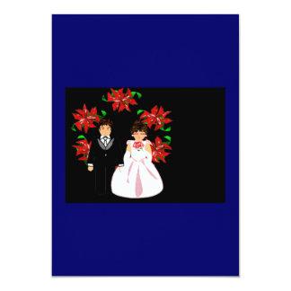 クリスマス|結婚|カップル|リース|青い|赤い 12.7 X 17.8 インビテーションカード