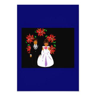 クリスマス|結婚|カップル|リース|青い|黒 12.7 X 17.8 インビテーションカード