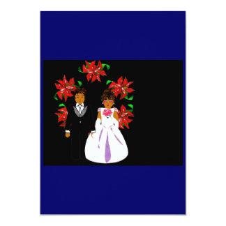 クリスマス|結婚|カップル|リース|青い 12.7 X 17.8 インビテーションカード