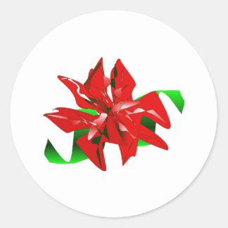 クリスマス|花|ステッカー|カスタマイズ可能 丸形シール・ステッカー