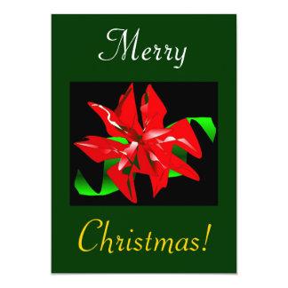 クリスマス|花 12.7 X 17.8 インビテーションカード