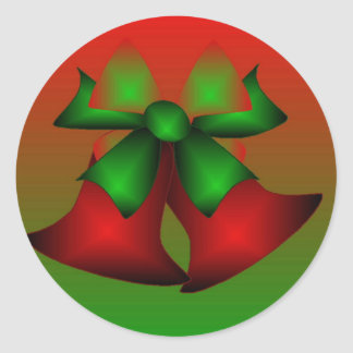 クリスマス|赤い|鐘|ステッカー 丸形シールステッカー