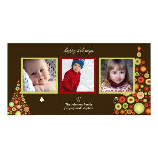 クリスマス、雪だるまおよびサンタの木の写真カード カード