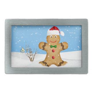 クリスマス、雪の幸せなジンジャーブレッドマン 長方形ベルトバックル