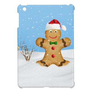 クリスマス、雪の幸せなジンジャーブレッドマン iPad MINIケース